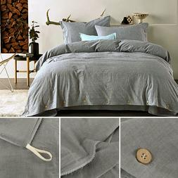 100% Washed Cotton Duvet Quilt Cover With Pillowcase Bedding