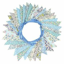 INFEI 10M/32Ft 36 Floral Fabric Triangle Flags Bunting Banne