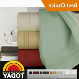 1800 Count Microfiber Comfort Extra Soft 4pc Bed Sheet Set D