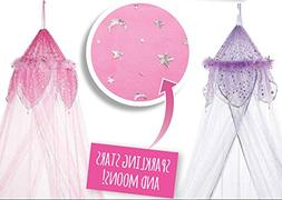 3C4G Metallic Moon and Stars Fantasy Bed Canopy with Feather