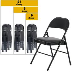 4/8/12 PACK Folding Chair Fabric Upholstered Padded Seat Met