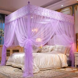 4 Corner Post Bed Canopy Elegant Curtain Mosquito Net w/ Sta