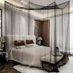 4 Corner Post Bed Canopy Elegant Curtain Mosquito Net Full/Q