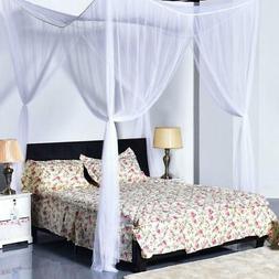 4 Corner Post White Bed Canopy Mosquito Net Full to King Siz