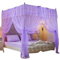 Mengersi 4 Corner Poster Bed Curtain Canopy Mosquito Netting