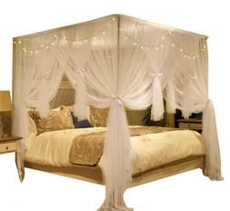 Nattey 4 Corner Poster Princess Bed Curtain Canopy Mosquito