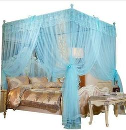 Mengersi 4 Corners Post Canopy Bed Curtain For Girls Adults