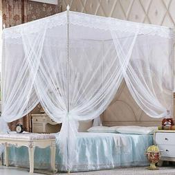 Nattey 4 Corners Princess Bedding Curtain Canopy Mosquito Ne