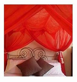 OctoRose 4 Poster Bed Canopy Netting Functional Mosquito Net