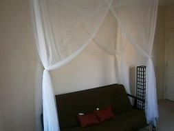 OctoRose 4 poster Twin size bed canopy mosquito net purple,