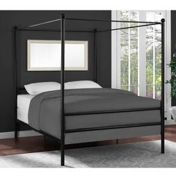 Bed Frame Full Size Canopy Metal Princess Girls Kids Bedroom
