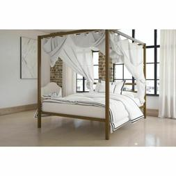 Queen Size Dark Gold Metal Canopy Bed Frame Headboard Modern