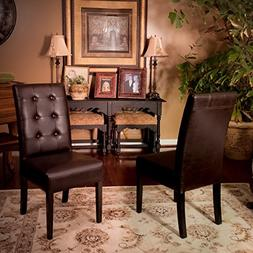 Addison Tufted Brown Leather Dining Chair