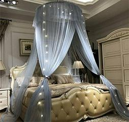 Bed Canopy - Elegant Lace Round Hoop Polyester Sheer Mesh Be