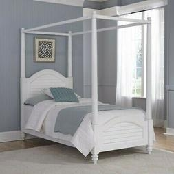 Home Styles Bermuda Wood Twin Canopy Bed White