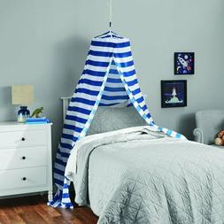 blue stripes printed hoop canopy