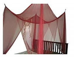 OctoRose Burgundy/Marron 4 Poster Bed Canopy Full Queen King