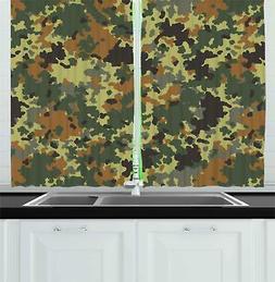 "Camo Kitchen Curtains 2 Panel Set Window Drapes 55"" X 39"" Am"