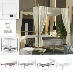 Canopy Bed Frame Metal Platform Queen Full Twin Size Heavy D