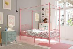 PRINCESS BED FRAME Twin Canopy Furniture White Metal Girls B