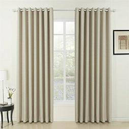 IYUEGO Classic Beige Curtain Solid Room Darkening Grommet Cu