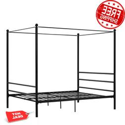 Classic Design Queen Size Metal Framed Canopy Platform Bed w
