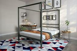 DHP Modern Canopy Bed, Gunmetal Gray, Multiple Sizes - Queen