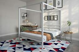 DHP Modern Canopy Bed with Built-in Headboard - Queen Size