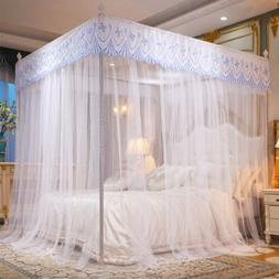 Elegant Mosquito Net Bed Canopy 4 Corner Post Curtains w/ Fr