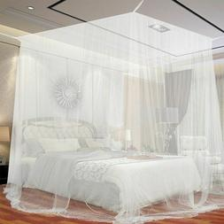 European Style Post Bed Canopy Mosquito Net 4 Corner Full Ne