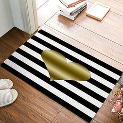 EZON-CH Non Slip Gold Heart Black And White Stripe Home Bath
