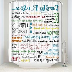 Family Rules Educational Waterproof Fabric Polyester Bathroo