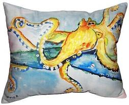 Betsy Drake Golden Octopus Accent Throw Pillow Indoor Outdoo