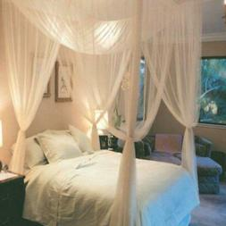Hot Bedding Post White Bed Canopy Mosquito Full to King Size