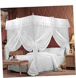 IFELES 4 Corners Bedding Curtain Canopy Netting Twin Full Qu