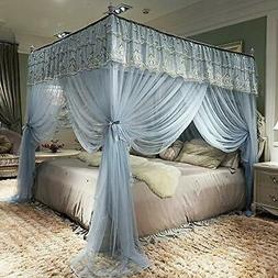 JQWUPUP Elegant Bed Curtains Canopy, Embroidery Ruffle 4 Cor