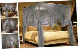 JQWUPUP Romantic Bed Canopy Curtains, Ruffle Princess 4 Corn