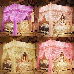 Princess 4 Corners Post Bed Curtain Canopy Mosquito Net Twin