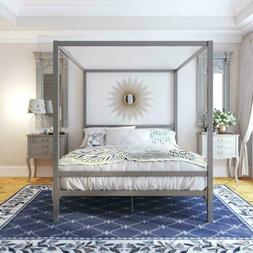 king size gray grey metal canopy bed