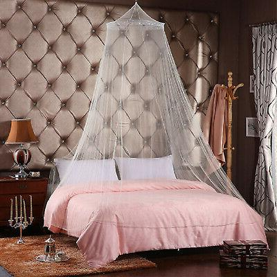 4 Lace Post Bed Canopy Mosquito Net Full King Size