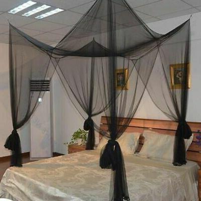 4 Corner Bed Canopy Full Queen Size Bedroom Net Mesh Curtain