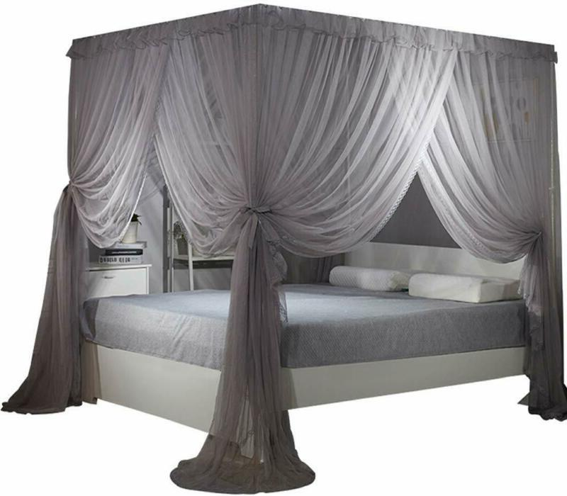 Nattey 4 Corners Bed Curtain Canopy Mosquito Net Canopies fo