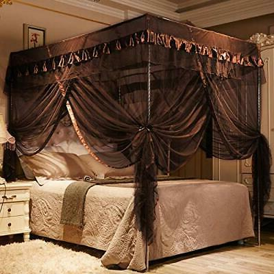 4 Post Bed Curtain Canopy Adults - Coffee