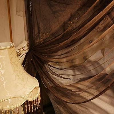 4 Corners Post Bed Curtain Canopy - Royal Coffee