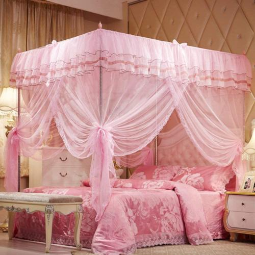 4 corners post pink canopy bed curtain
