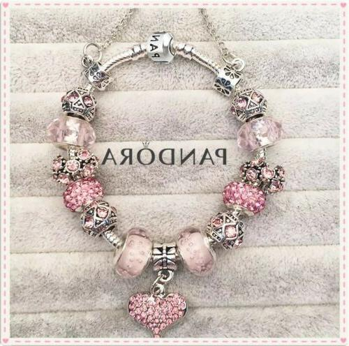Authentic Pandora Charm Bracelet Silver Pink LOVE STORY with