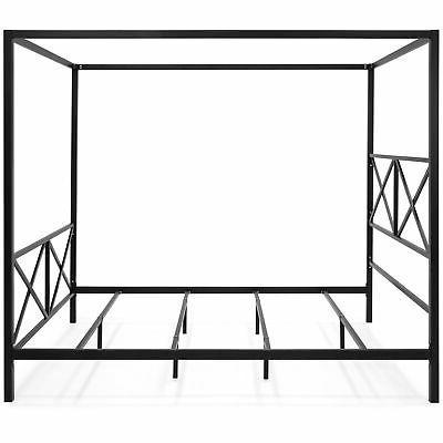 BCP Modern Metal Post Canopy Queen Frame