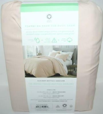 UNDER CANOPY Pink Brushed DUVET COVER ORGANIC