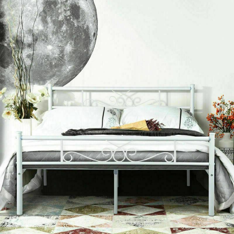 Canopy Bed Frame Metal Platform Queen Bedroom