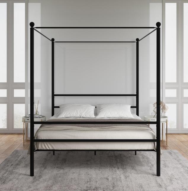 Classic Design Queen Metal Platform Bed w/